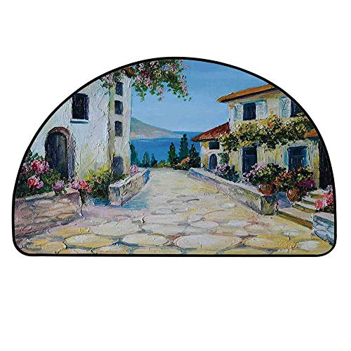 YOLIYANA Rustic Semi Circle Mat,Vintage Houses in Village Near The Sea with Colorful Plants Artistic Carpet Indoor Mat,25.9