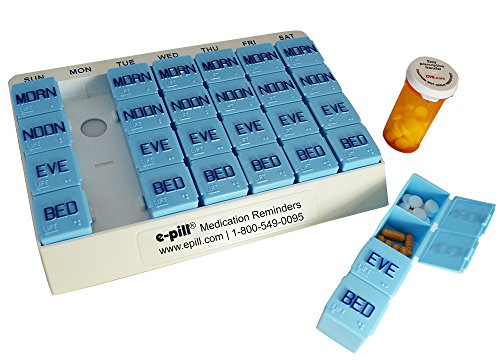 7 Day x 4 Large Capacity Pill Box. Weekly Pill Box Organizer System for Medications, Supplements, and Vitamins