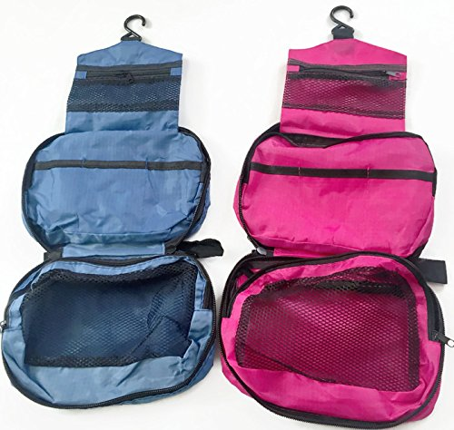 Valentine's Day SALE! Hanging Travel Toiletry Bags For Women, Men or Kids.Works As Makeup Bag, Cosmetic Bag, Business Travel Bag, Toiletry Organizer For Gym Or Back Packing [Set Of 2, Pink and Blue]