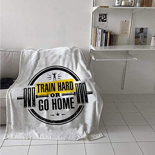 maisi Fitness Digital Printing Blanket Train Hard or Go Home Stamp Like Design Strong Sportsman Barbell Circle Summer Quilt Comforter 62x60 Inch Black White Yellow