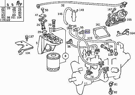 Mercedes Om605 Engine Diesel Fuel Filter Hose Pipe Line A6050701032