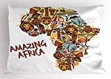 Lunarable African Pillow Sham, Africa Map with Native Objects Icons Tribal Mask and Mammals Graphic Travel Theme, Decorative Standard Size Printed Pillowcase, 26 X 20 inches, Multicolor