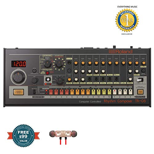 Roland TR-08 Boutique Rhythm Composer includes Free Wireless Earbuds – Stereo Bluetooth In-ear and 1 Year Everything Music Extended Warranty