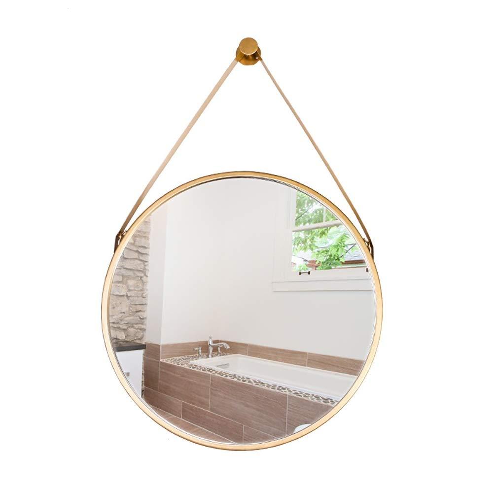 ETH Modern Gold Diameter 60cm Round Iron + Glass Bathroom Mirror Makeup Mirror Bathroom Decoration Durable by ETH