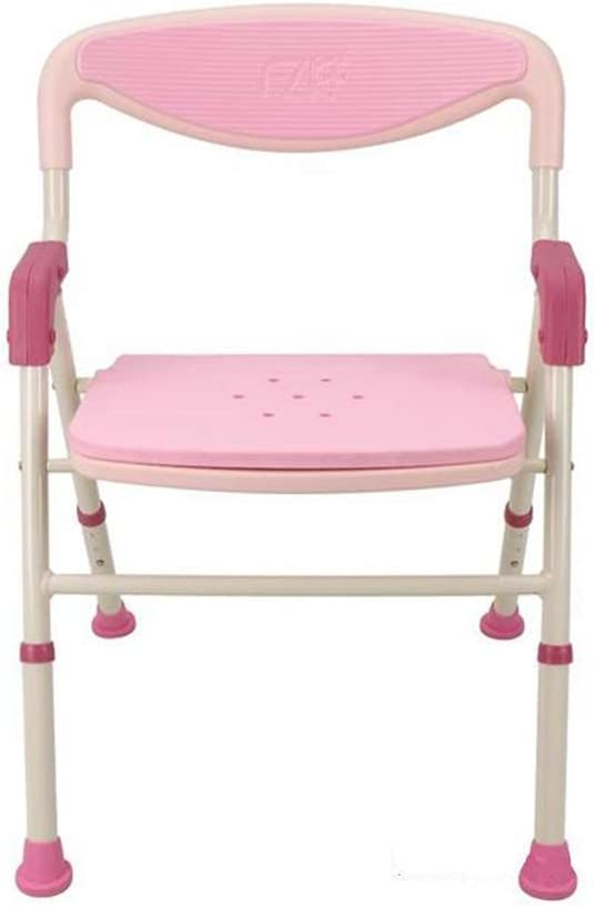 Bath Stool Bathroom Folding Shower Chair Bathing Chair Anti-Skid Shower Stool Bath Stool (Color : Pink)