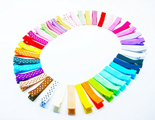ColorBeBe - Set of 40 Ribbon Lined Single Prong Alligator Clips (Assorted Color) JC-012]()