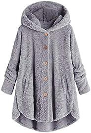 Eoailr Fleece Jacket Women Pullover Hoodie Fleece Hooded Sweatshirt Cat Ear Pocket Warm Winter Oversized Outwe