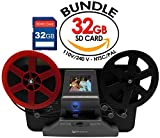 Wolverine 8mm and Super8 Reels Movie Digitizer with 2.4'' LCD, Black (Film2Digital MovieMaker), Includes 32GB SD Memory Card & Worldwide Voltage 110V/240V AC Adapter (Bundle)