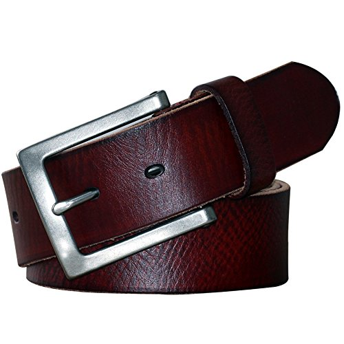POL PARKMAN Mens Classic Jean Leather Belt Brown 1 1/2 inch Wide