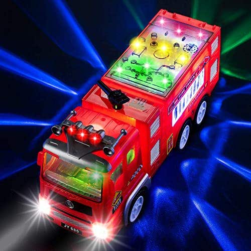 Electric Fire Truck Kids Toy - with Bright Flashing 4D Lights & Real Siren Sounds | Bump and Go Firetruck for Boys | Automatic Steering on Contact | Fire Engine Toy Trucks for Imaginative Play