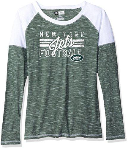 NFL New York Jets Women's Long Sleeve Raglan Open Neck Tee, Small, Dark Green/White/White