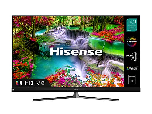 HISENSE 55U8QFTUK Quantum Series 1000-nit 55-inch 4K UHD HDR Smart TV with Freeview play, and Alexa Built-in (2020 series), Silver