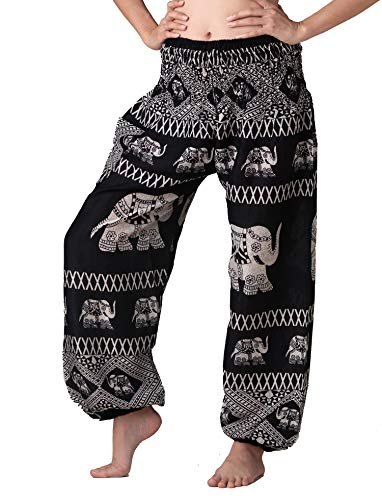 (Bangkokpants Women's Harem Pants Bohemian Clothes Boho Yoga Hippie Pants Smocked Waist (Black Elephantcross, One Size))