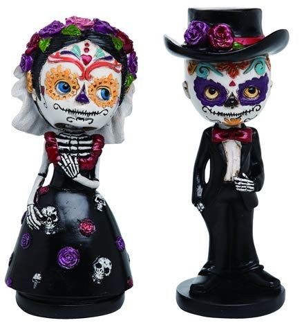 DOD, Day of the Dead Bobble Head Large Wedding Cake Topper Figurine Bride and Groom Set]()