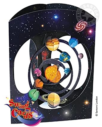 Deluxe Girls Boys Birthday Card Solar System Planets Space 3d