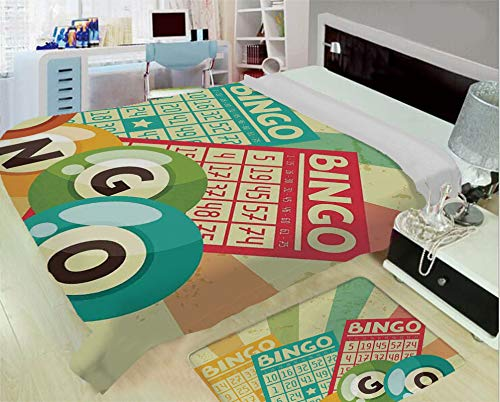 iPrint Soft Warm high-Grade Flannel Blanket,Vintage Decor,Bingo Game with Ball and Cards Pop Art Stylized Lottery Hobby Celebration Theme,Multi,One Side Printing,Excess Value