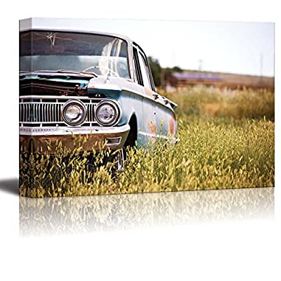 Canvas Prints Wall Art - Abandoned Classic Car in a Field in Rural Wyoming - 32
