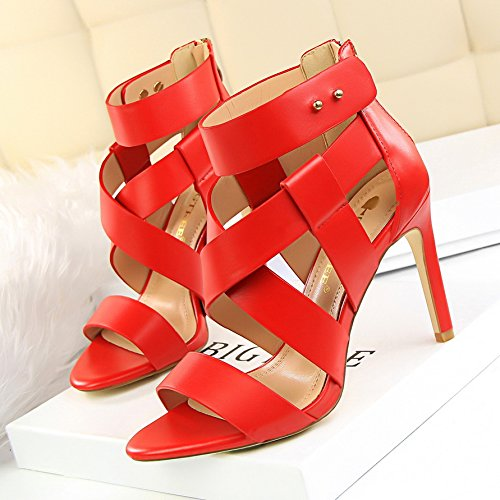 Xing Lin Summer Shoes For Women Wedges Summer Exposed Toe Was Thin With High Heels Cut Hollow Cross With A Roman Sandal Female red