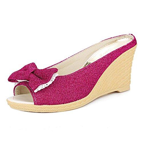 TAOFFEN Mujer Moda Peep Toe Sandalias y Chanclas Tacon De Cuna Tacon Alto Zapatos De Bowknot Rosa Roja