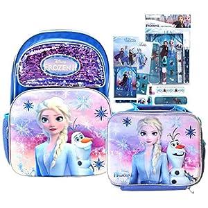 Disney Frozen II Full Size Elsa Sequin Backpack, Lunch Box & Stationery Set