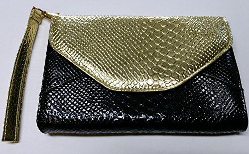 Gossip Girl - Cartera de mano de Material Sintético para mujer negro negro/dorado
