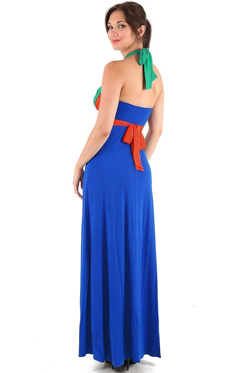 Blossoms Blue/Green/Orange Colour Block Maxi Halterneck Summer Dress Size 8-10-12-14 - Uk Size 8/10 - Blue/Orange/Green - 50ins from underarm to hem: ...