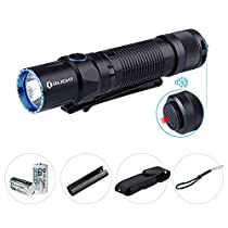 Olight® M2T Warrior 1200 Lumens Tactical Flashight Dual Switch with Cree XHP35 HD CW LED and 2 x CR123A Batteries Compact LED Torch Light for Tactical, Self-defense andOutdoors