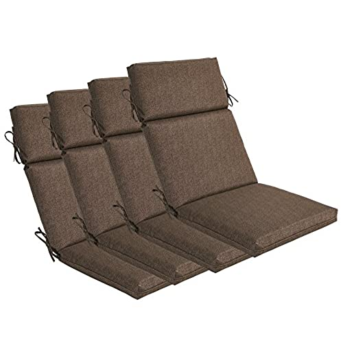 Bossima Indoor/Outdoor Coffee High Back Chair Cushion, Set Of  4.Spring/Summer Seasonal Replacement Cushions.