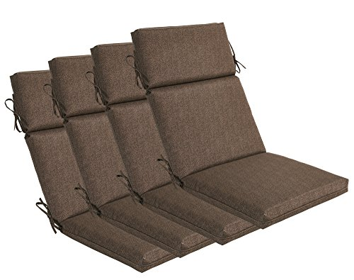 Bossima Indoor/Outdoor Coffee High Back Chair Cushion, Set of 4.Spring/Summer Seasonal Replacement ()