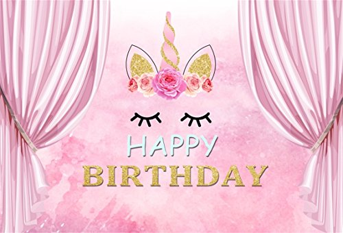 CSFOTO 5x3ft Unicorn Birthday Backdrop Happy Birthday Photography Background Smiling Face Pink Watercolor Printing Girl Cake Dessert Table Banner Birthday Photobooth Props