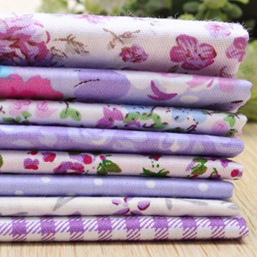 KINGSO 8PCS Cotton Fabric Quilting Sewing Patchwork Cloths DIY Craft 15.7*19.7inch Purple Series