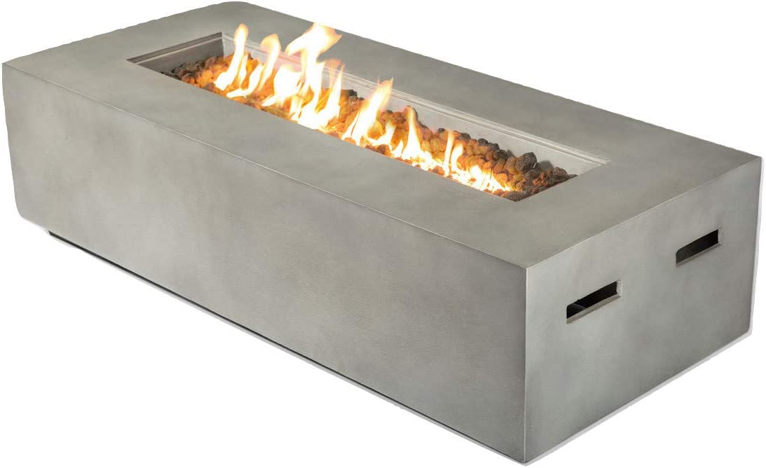 Century Modern Outdoor Fire Pit for Outdoor Home Garden Backyard Fireplace Propane Operated Low Height Modern Fireplace Outdoor Furniture CM-1023C Natural Concrete Finish