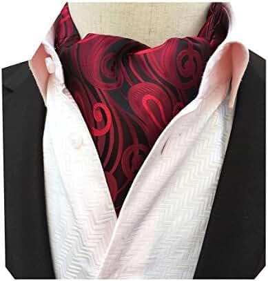 MENDENG Men's Burgundy Red Ripple Printing Paisley Woven Cravat Self Ascot Ties