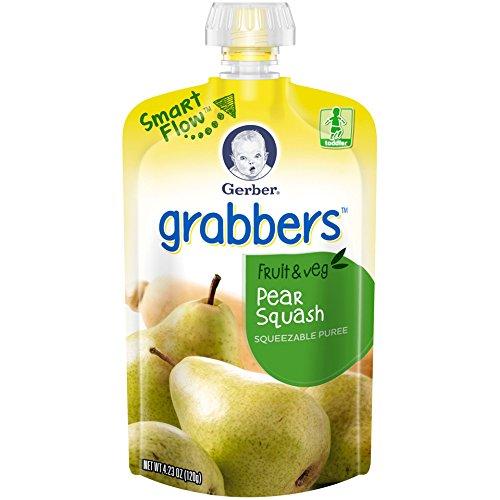 Gerber Graduates Grabbers, Pear Squash, 4.23-Ounce, 12-Count