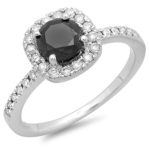 1.15 Carat (ctw) 14K White Gold Round Black and White Diamond Bridal Engagement Ring (Size 7)
