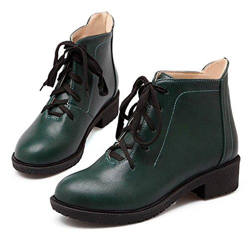 Ankle Zehe Schuhe Loafers Schnüren LongFengMa Frauen Blockabsatz Mitte Grün Runde q1YcWcSg