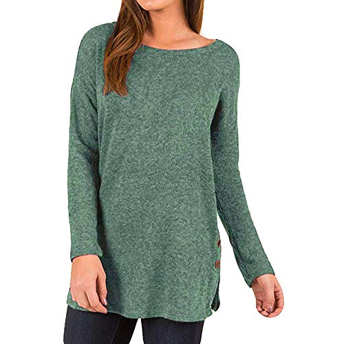 ANJUNIE Women Plus Size T-Shirts Loose Sweater Button Side Long Sleeve Tunic Top(Green,L) (Railroad Wool Hat)