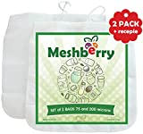 Nut Milk Bags - 2 Pack - Best Silky Texture Maker - Juice & Cottage Cheese & Greek Yogurt Strainer - Reusable & Durable 12''X12'' 75 & 200 Microns Fine Mesh Nylon White