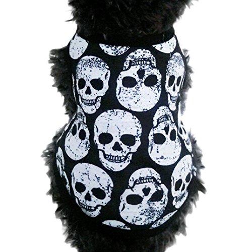 Puppy Clothes,Haoricu Small Dog Cat Pet Black Skull Vest T-Shirt Puppy Apparel (S)