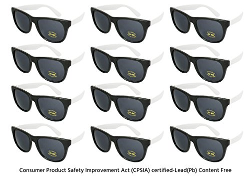 Edge I-Wear 12 Pack Neon Party Sunglasses with CPSIA Certified Lead (Pb) Content Free and UV 400 Lens 5402R/WHT-12 (Made in - Black Sunglasses And White
