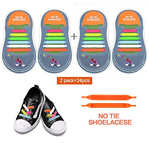 No Tie Laces for Kids,Silicone Flat Shoe Laces for Trainer, Elastic Waterproof Tieless Running Shoe Laces