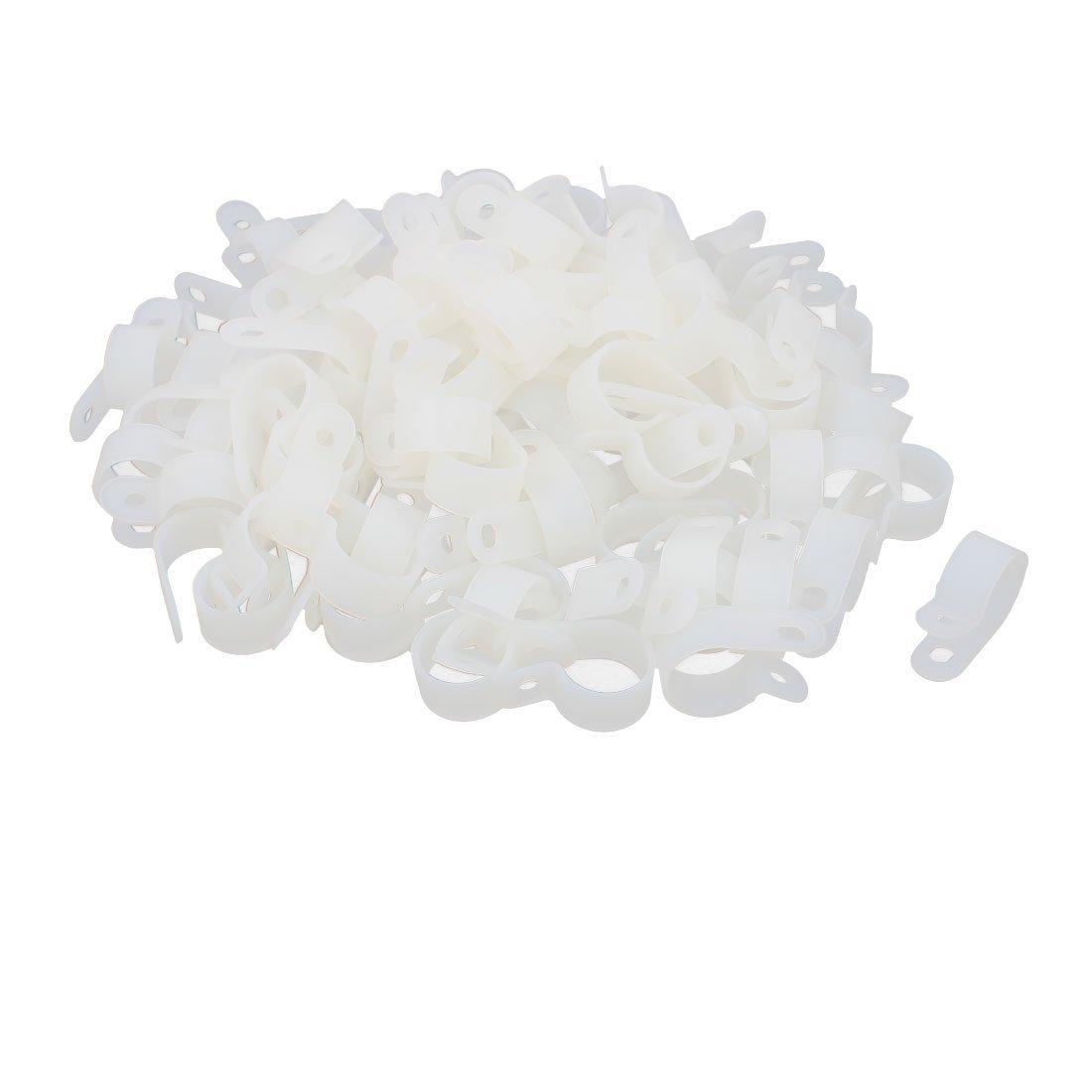 uxcell 100 PCS Nylon 20mm Dia R Type Wire Cord Clip Fixer Cable Clamp Fastener Harness