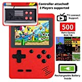 DigitCont Retro Game Console Mini Handheld Arcade, Built in with 500 Classic Games 2 Players Mode Portable Game Cabinet Machine Rechargeable Battery Inside Support Connect TV Red