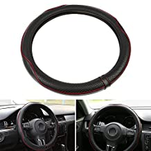 LeaningTech LTC Universal 38cm Outer Diameter Leather Steering Wheel Cover Automotive Interior Accessories Medium Size Black+Red