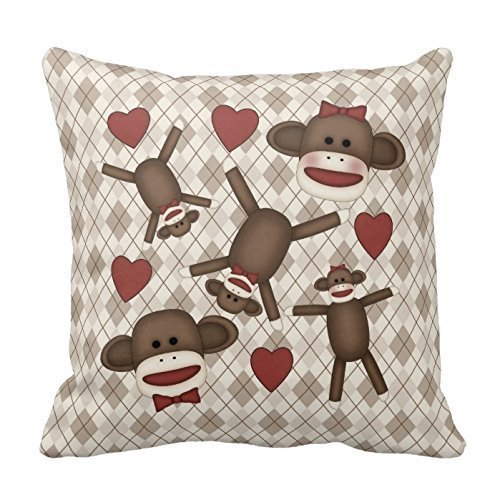 Best Design Adorable Sock Monkey Home Decor Items Throw Pillow Cover