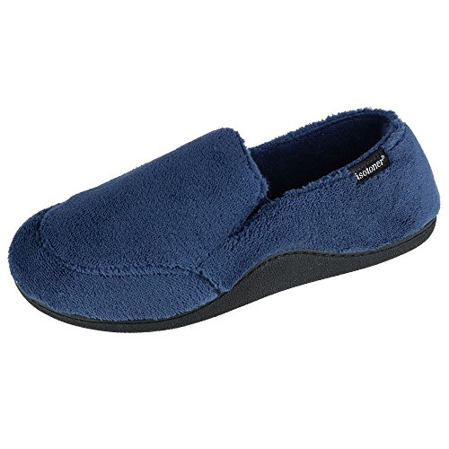 ISOTONER Men's Microterry Slip On Slippers, Navy, MD