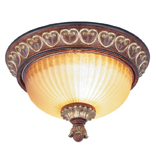 Brass Traditional Finish - Livex Lighting 8562-63 Villa Verona 2 Light Verona Bronze Finish Flush Mount with Aged Gold Leaf Accents and Rustic Art Glass