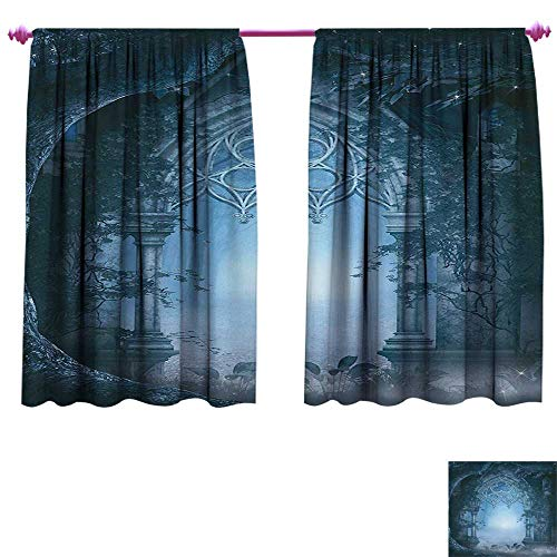 tterned Drape for Glass Door Passage Doorway Through Enchanted Foggy Magical Palace Garden at Night View Waterproof Window Curtain W108 x L72 Navy Blue and Gray ()
