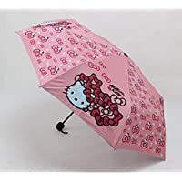 Cute Hello Kitty Foldable Pink Bow Umbrella with Non-slip Handle
