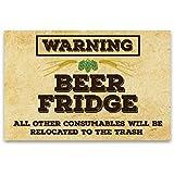 "Fridge Funny Beer Warning Magnet - Man Cave Refrigerator 2""x3"" inch Bar Magnet - Vintage Paper Hops Kitchen Refrigerator Magnet for Home Decor, Gift for Men & Women, or Party Favors, Made in USA"